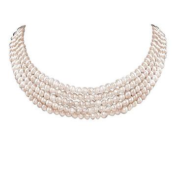 SURAT DIAMOND 5 Line Real Freshwater Pearl Choker Necklace