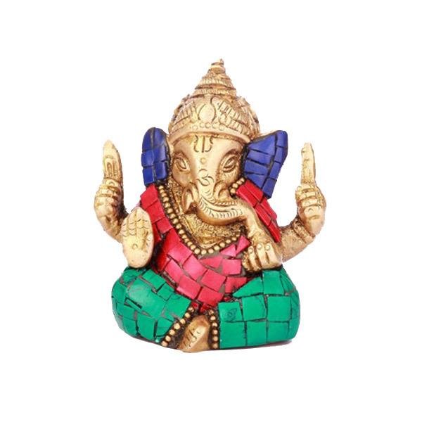 DivineHaat Brass Multi-colored Stone Ganesha Image