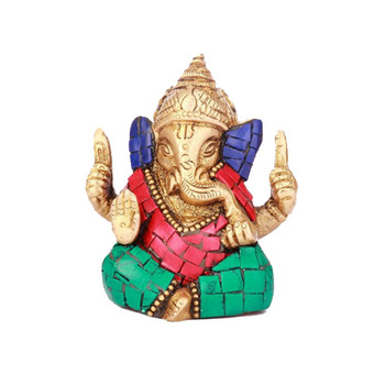 DivineHaat Brass Multi-colored Stone Ganesha