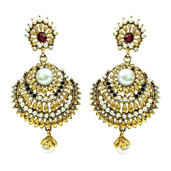 SURAT DIAMOND Ethnic Red,Green& White Stone Gold Plated Earrings