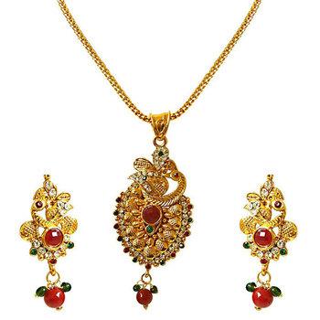 SURAT DIAMOND Peacocks Paradise Pendant Necklace & Earring Set