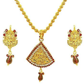 SURAT DIAMOND Prakruti Goddess Motif Necklace & Earrings Set