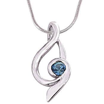 SURAT DIAMOND Trendy Blue Topaz Pendant Necklace