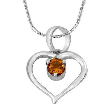 SURAT DIAMOND Perfect Memories Yellow Topaz Pendant Necklace