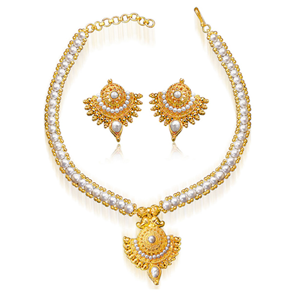 SURAT DIAMOND Pearl & Gold Plated Necklace & Earring Gift Hamper Image