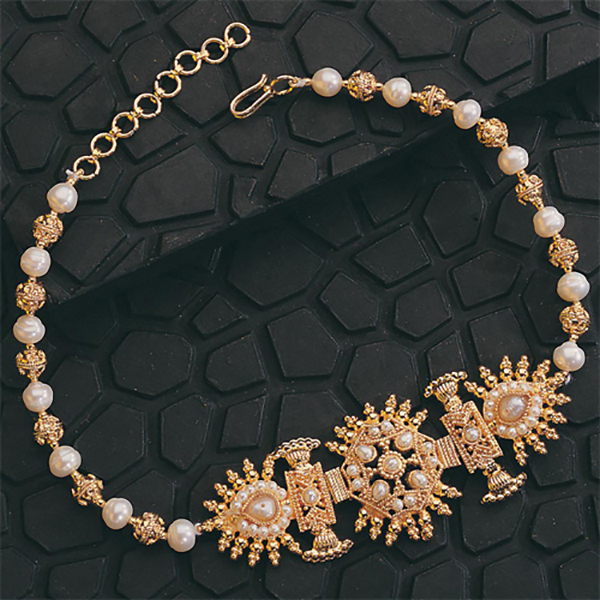 SURAT DIAMOND Gold Plated Pendant & Pearl Necklace Gift Hamper Image