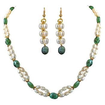 SURAT DIAMOND Emerald, Pearl Necklace & Earring Gift Hamper