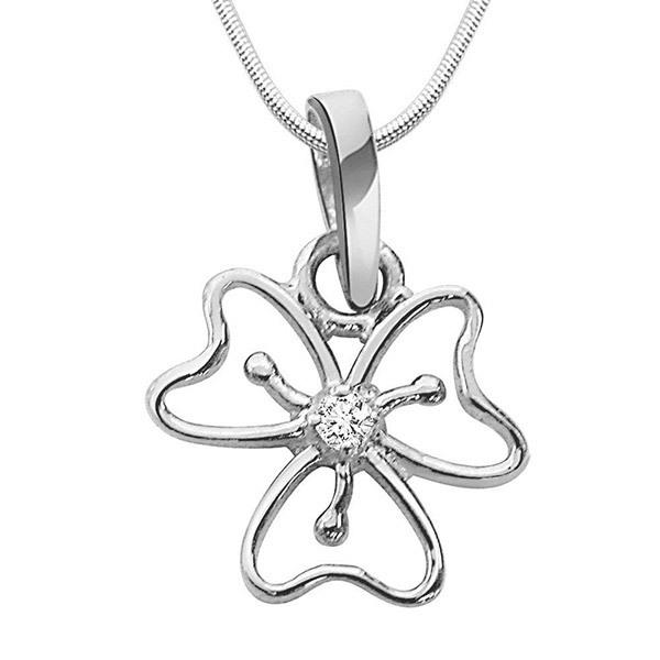 SURAT DIAMOND Flower Shaped Diamond Pendant Necklace Gift Hamper Image