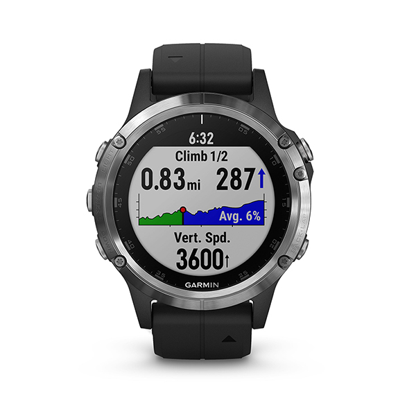 Garmin fēnix® 5 Plus GPS Watch - Glass Lens + Silicone Band Image