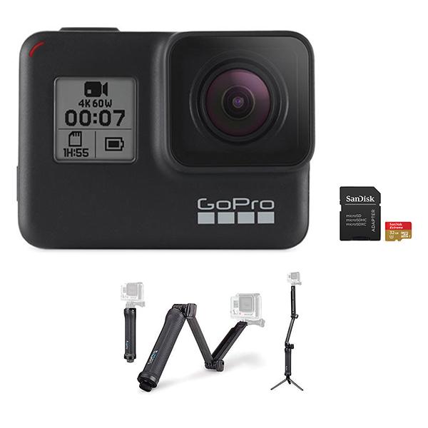 GoPro HERO 7 Camera (Black) + 3-Way Mount + microSD Card 32GB Image