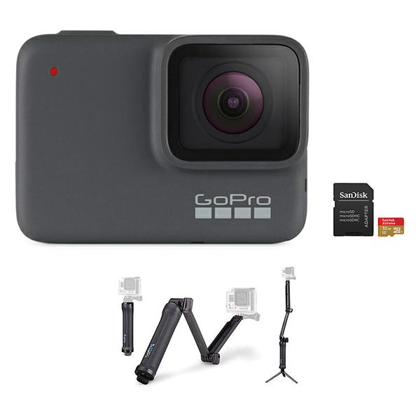 GoPro HERO 7 Camera (Silver) + 3-Way Mount + microSD Card 32GB Image