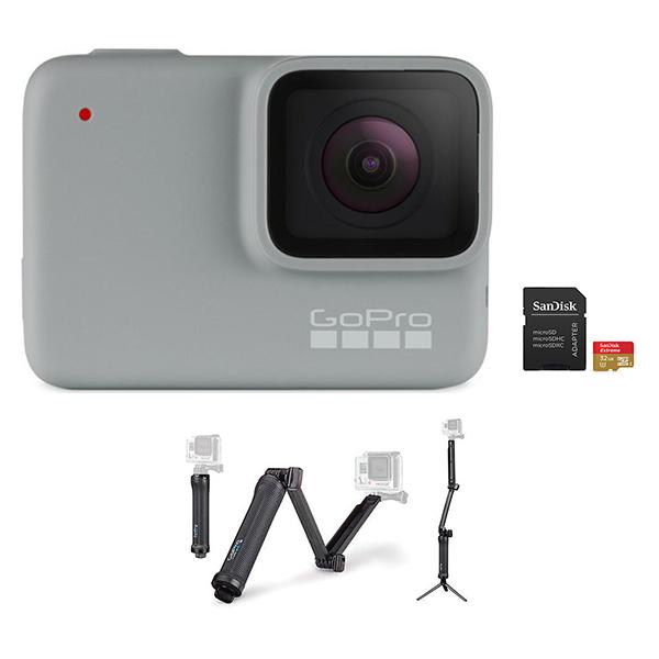 GoPro HERO 7 Camera (White) + 3-Way Mount + microSD Card 32GB Image