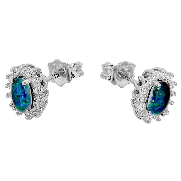 Wellington Silver Earstuds with Shimmering Triplet OpalImage