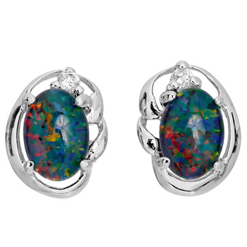 Wellington Elegant Silver Earstuds with Triplet Opal