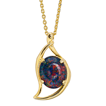Wellington Gold Necklace with Triplet Opal Moon Pendant