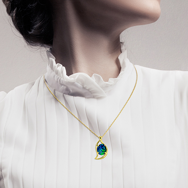 Wellington Gold Necklace with Triplet Opal Moon PendantImage