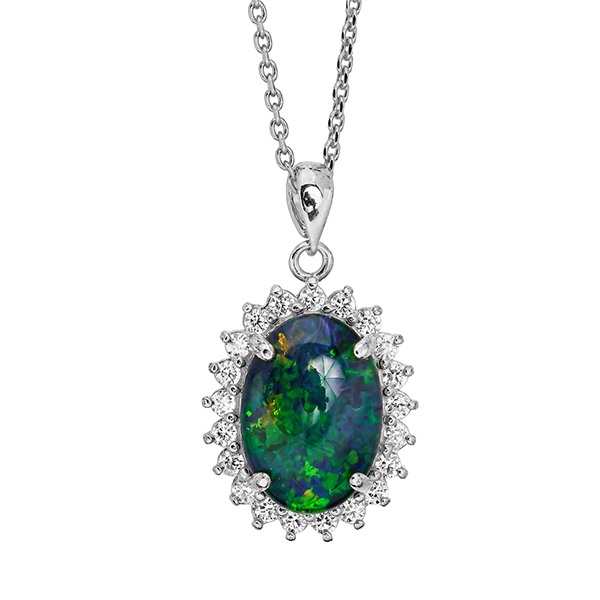 Wellington Gold Necklace with Shimmering Triplet Opal PendantImage