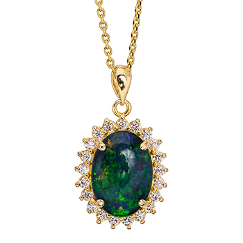 Wellington Gold Necklace with Shimmering Triplet Opal Pendant