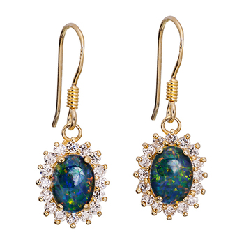 Wellington Gold Earrings with Shimmering Triplet Opal