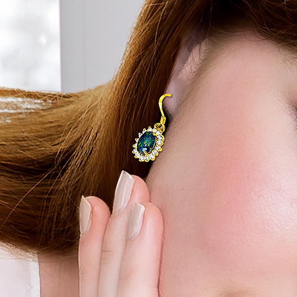 Wellington Gold Earrings with Shimmering Triplet OpalImage