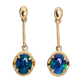 Wellington Gold Drop Earrings with Triplet Opal
