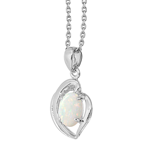 Wellington Necklace with Solid Opal Heart PendantImage