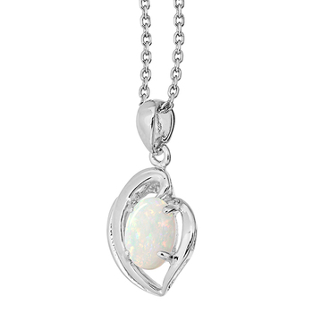 Wellington Necklace with Solid Opal Heart Pendant