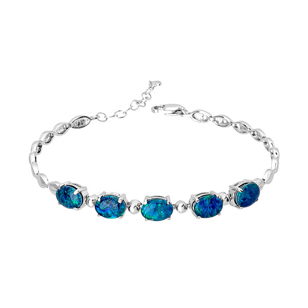Wellington Elegant Silver Bracelet with Triplet OpalsImage