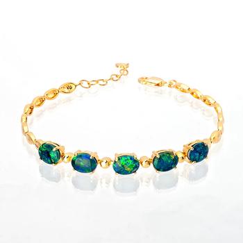 Wellington Elegant Silver Bracelet with Triplet Opals