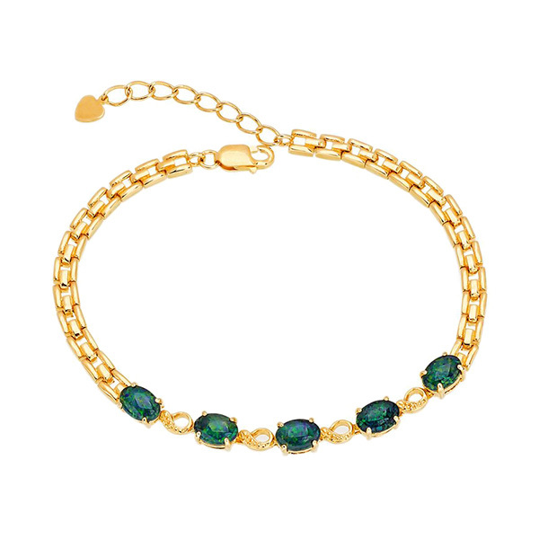 Wellington Elegant Gold Bracelet with Triplet OpalsImage