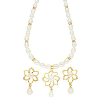 Sri Jagdamba Pearls MODESTY Necklace & Earrings Set JPSEP-18-55
