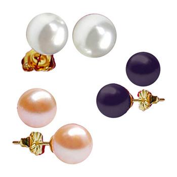 Sri Jagdamba Pearls Multicolor Pearl Earstuds Set JPSF-001