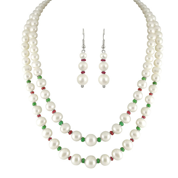 Sri Jagdamba Pearls 2-Line Necklaces & Earrings Set SJPJN-224 Image