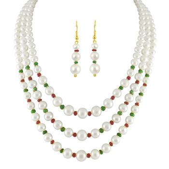 Sri Jagdamba Pearls 3-Line Necklace & Earrings Set-SJPJN-226