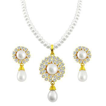 Sri Jagdamba Pearls ROYAL Pendant Necklace & Earrings Set