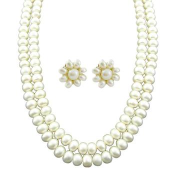 Sri Jagdamba Pearls 2-Line Necklace & Earstuds Set JP-APR-1150