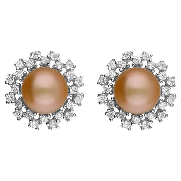 Sri Jagdamba Pearls CHARMING Pink Pearl Earstuds JPAUG-18-64 Image