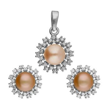 Sri Jagdamba Pearls AOURA Pendant & Earstuds Set JPAUG-18-114C