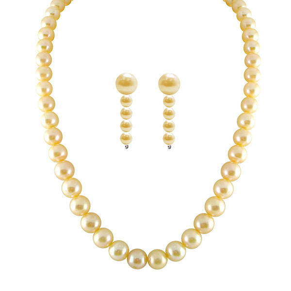 Sri Jagdamba Pearls Classic Peach Necklace & Earrings Set Image