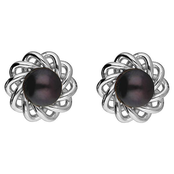 Sri Jagdamba Pearls Silver Black-Pearl Earstuds JPAUG-18-81 Image