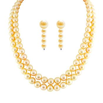 Sri Jagdamba Pearls 2-Line Necklace & Earrings Set JPAUG-155/156