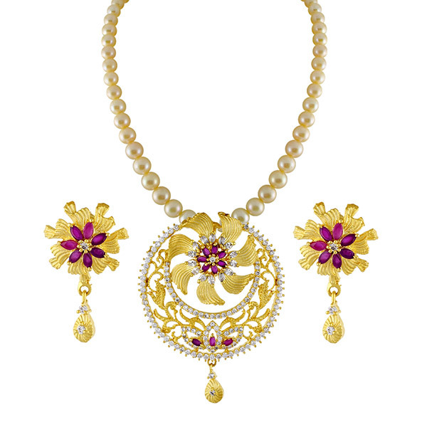 Sri Jagdamba Pearls Designer Necklace & Earrings Set Image