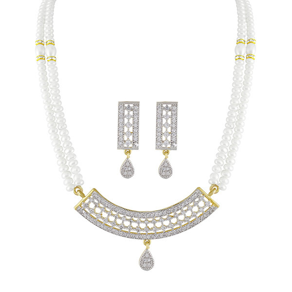 Sri Jagdamba Pearls GRACE White-Pearl Necklace & Earrings Set Image