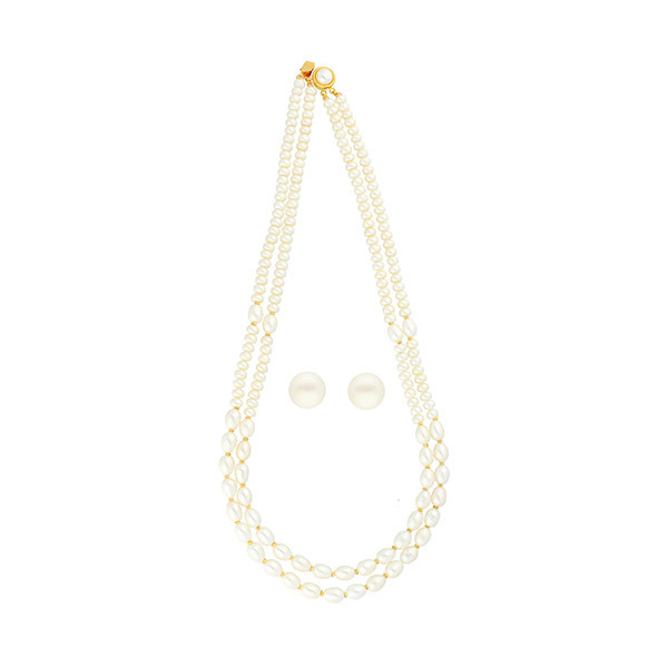 Sri Jagdamba Pearls 2-Line Necklace & Earstuds Set JPJUN-18-179 Image