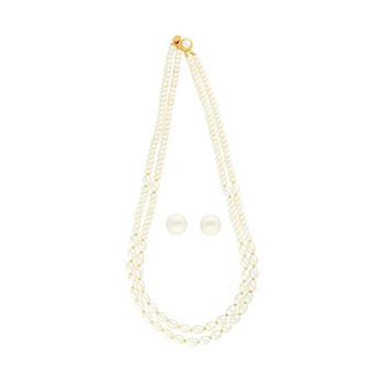 Sri Jagdamba Pearls 2-Line Necklace & Earstuds Set JPJUN-18-179