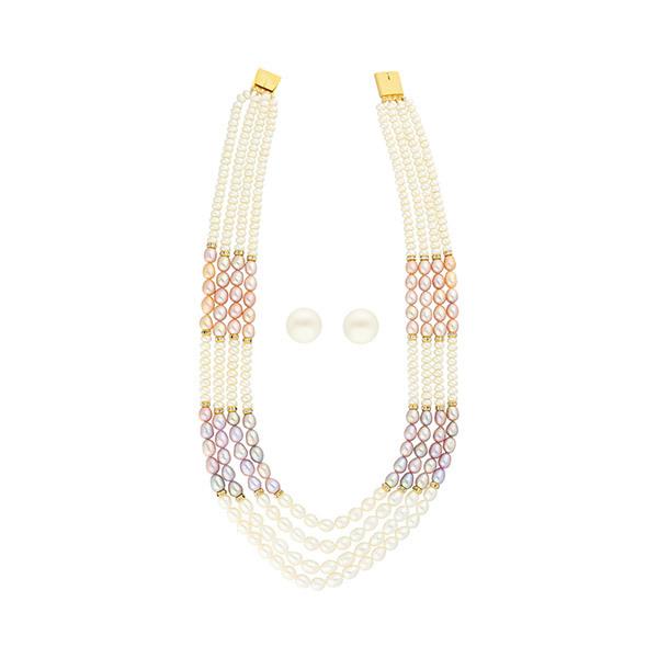 Sri Jagdamba Pearls Necklace & Earstuds Set JPJUN-18-182 Image