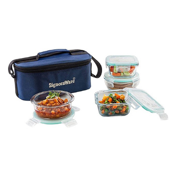 SignoraWare DOUBLE DECKER Crystal Lunch Box Set - 4pcs