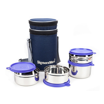 SignoraWare EXECUTIVE Steel Big Lunch Box Set - 4pcs