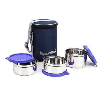 SignoraWare EXECUTIVE Medium Steel Lunch Box Set - 3pcs