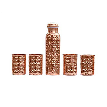 SignoraWare Hammered Copper Bottle with 4 Glasses